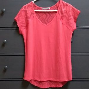 Red Maurices lace back top